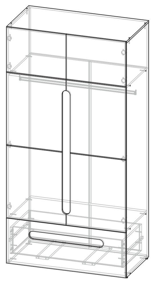 Шкаф 2-ств с ящиками Палермо